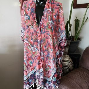 Pink Floral Kimono/ Bathing Suit Cover-up